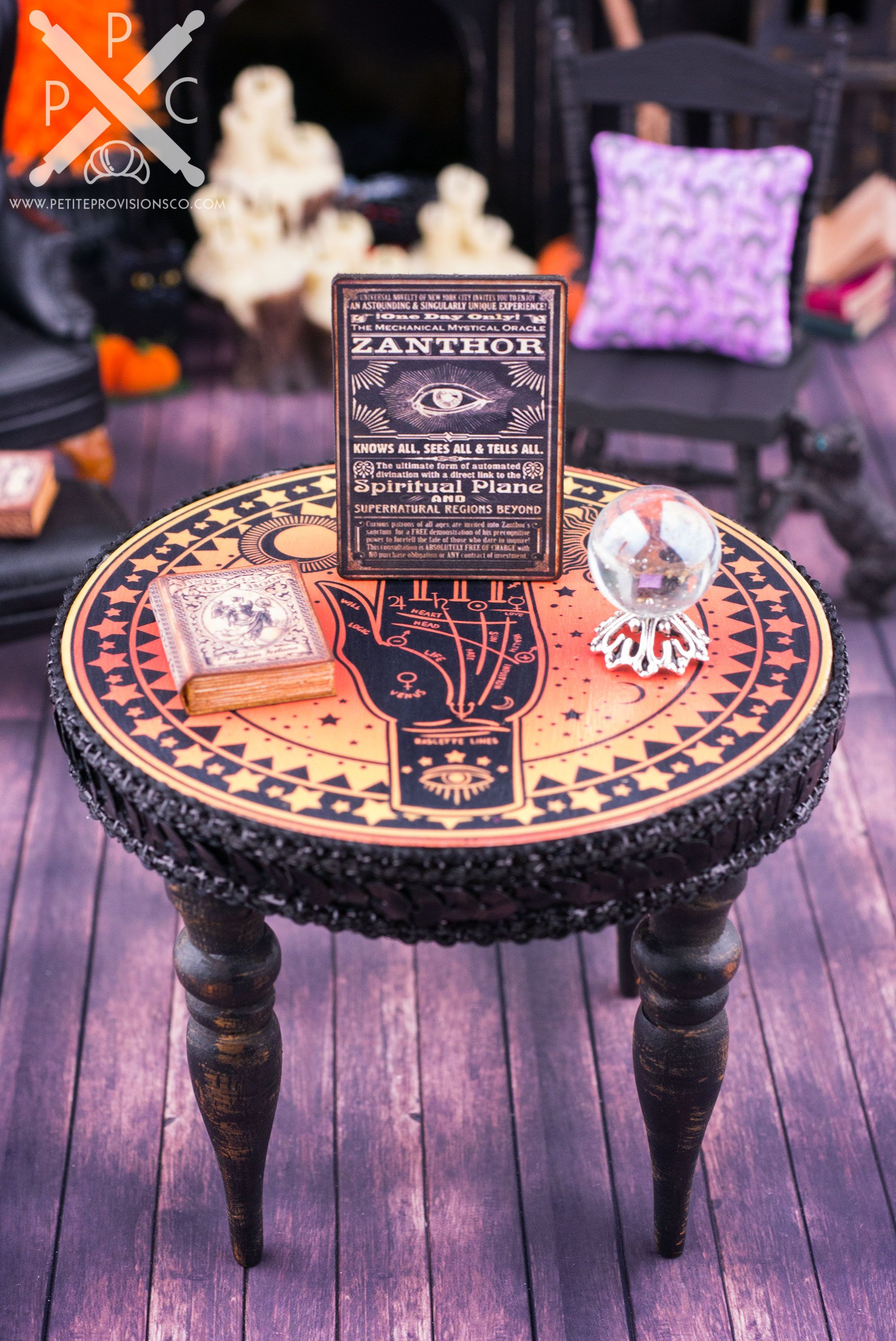 Dollhouse Miniature Palm Reader's Table Halloween Set - 1:12 Dollhouse Miniature - The Petite Provisions Co.