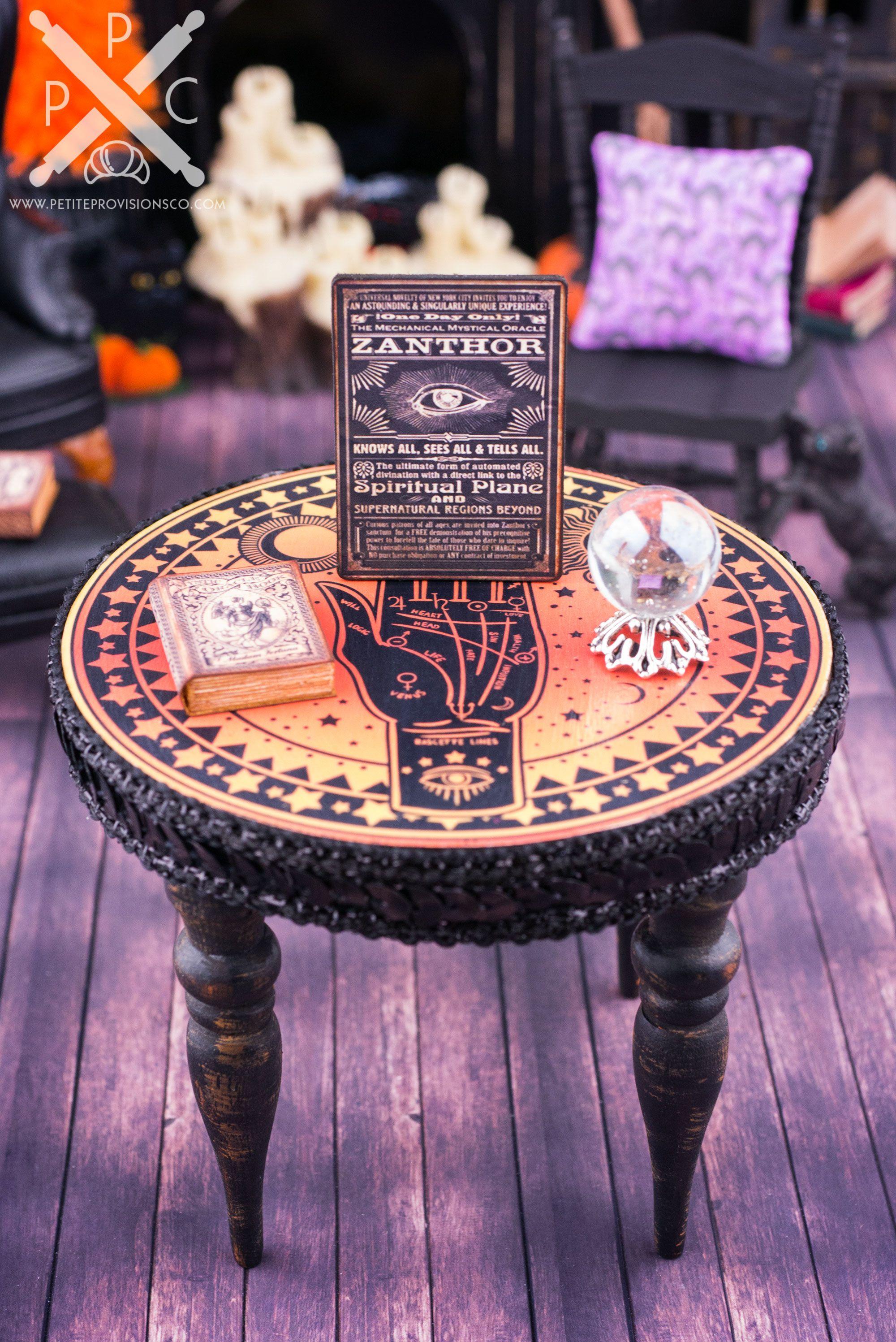Dollhouse Miniature Palm Reader's Table Halloween Set - 1:12 Dollhouse Miniature - The Petite Provisions Co.