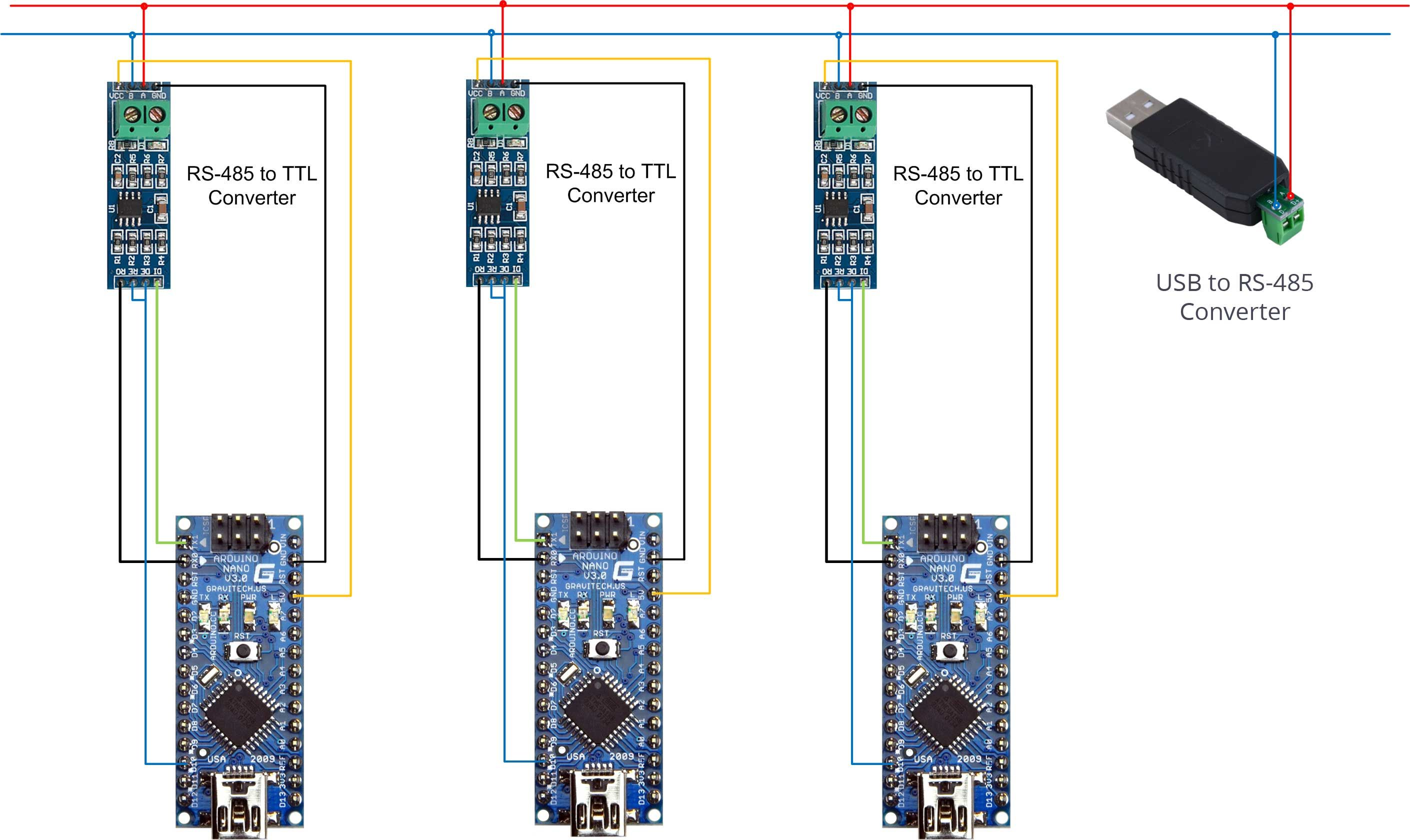 Connecting RS-485 to TTL converter for Arduino -- RS-485 on the