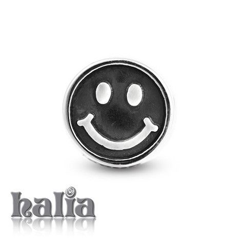 """Live Laugh Love: Round happy face bead with """"Live Laugh Love"""" inscribed on the reverse: designed exclusively by Halia™, this bead fits other popular bead-style charm bracelets as well.  Sterling silver, hypo-allergenic and nickel free.   $35.00"""
