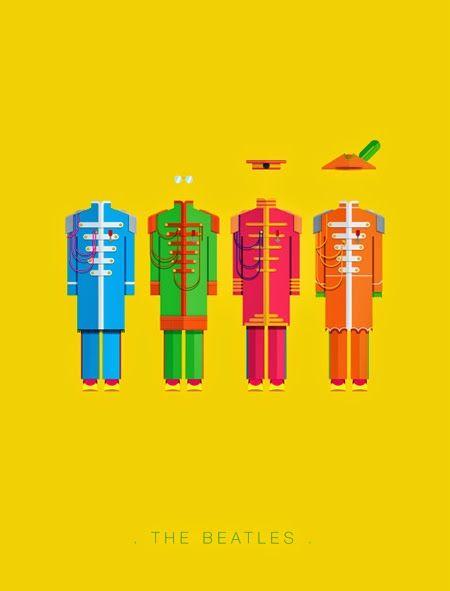 Buena serie de carteles del diseñador e ilustrador brasileñoFred Birchal quien sintetizó algunos de los trajes y vestimentas mas emblemáticas del rock. Les recomiendo una vuelta por su Behance don...