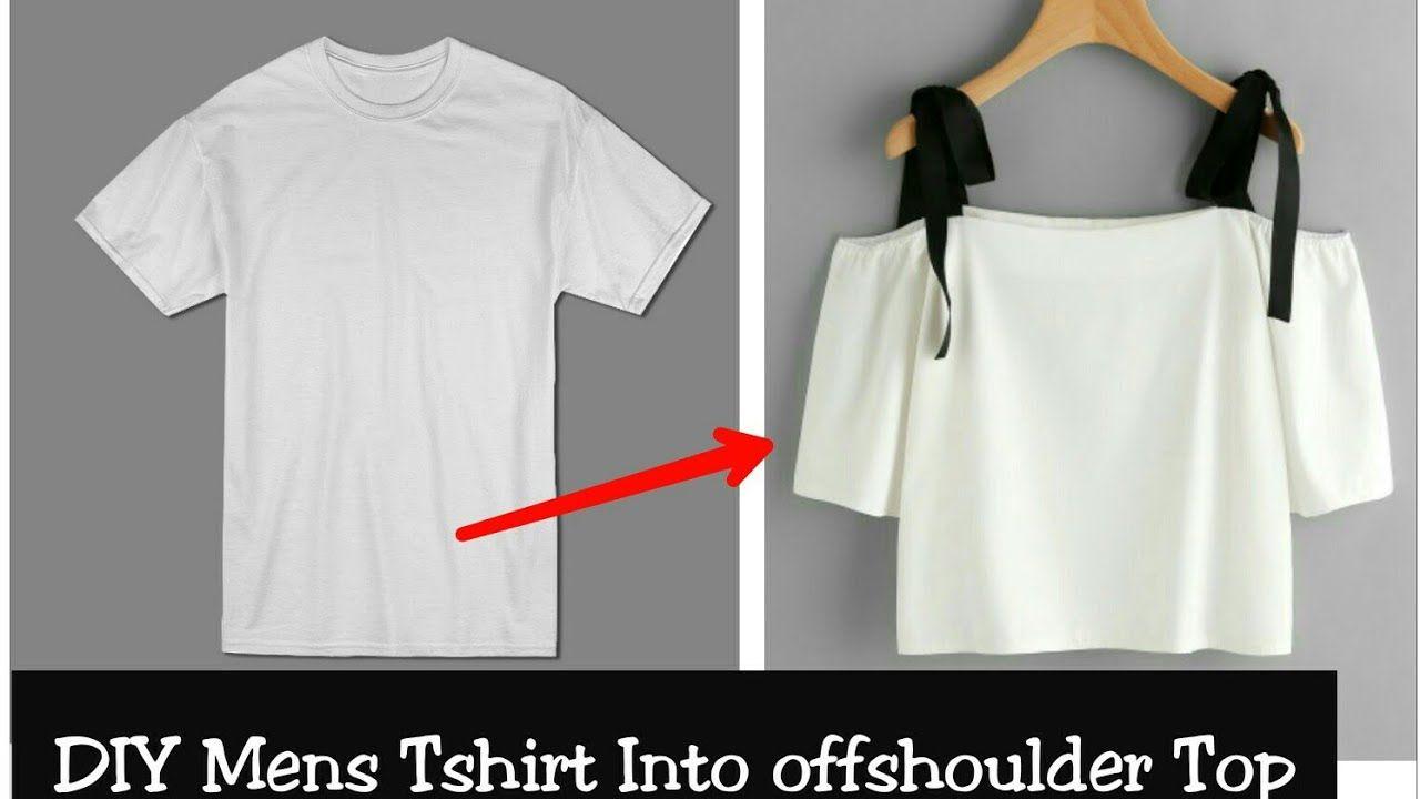 Diy Convert Men S Old T Shirt Into Off Shoulder Crop Top Hindi Youtube Tops Diy Off Shoulder Top Refashion Clothes