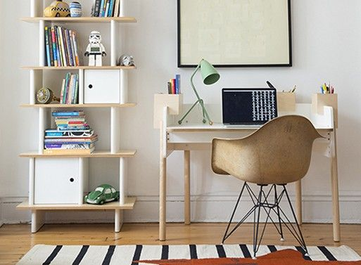The Brooklyn Desk has clever little storage boxes that slip over its edge, which means the boxes can be arranged to suit the user's preferences exactly. Now, do keep in mind it is a smaller w…