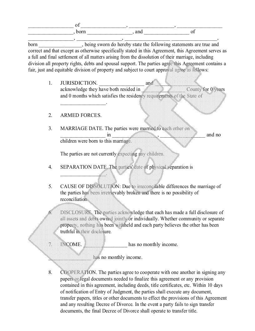 Sample Divorce Settlement Agreement Form Template | For the Home ...