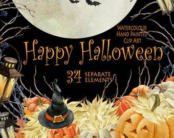 Halloween watercolor clipart, Autumn, Pumpkin, fall ...