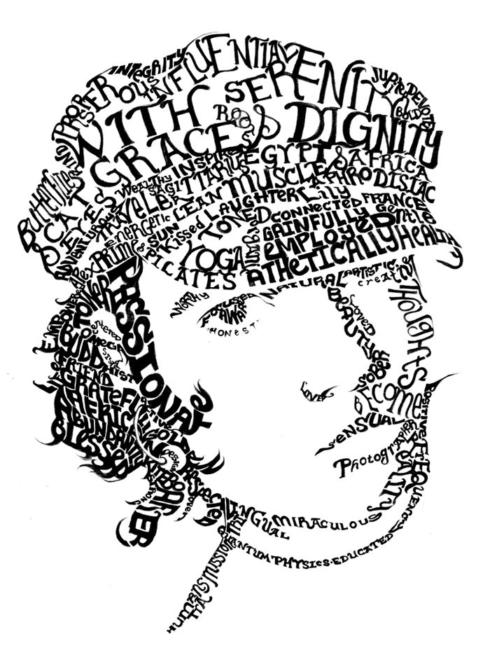 Word Text Art : Freetime, Aaron, Gilmore, Lessons, Middle, School,, Typography, Portrait,, School, Projects