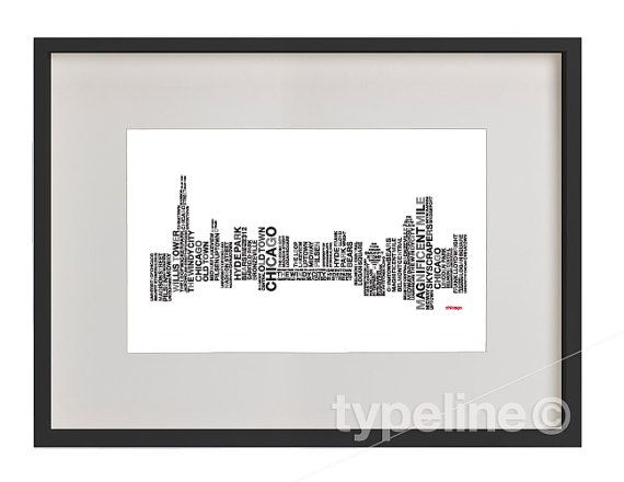 Chicago Skyline Illinois City Skyline Typography by typeline