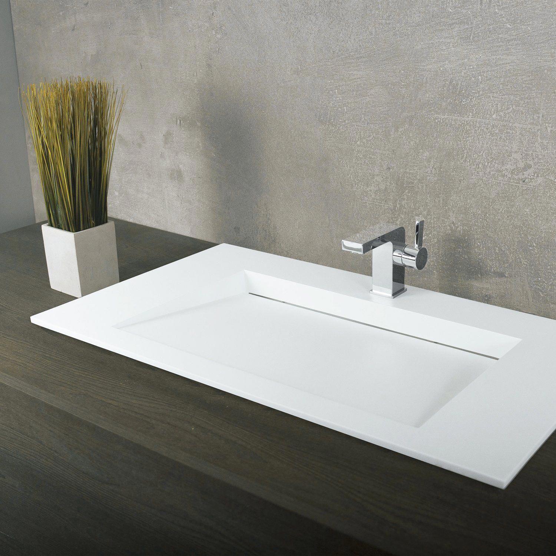 White Clean Finish Rectangle Single Bowl Bathroom Sink