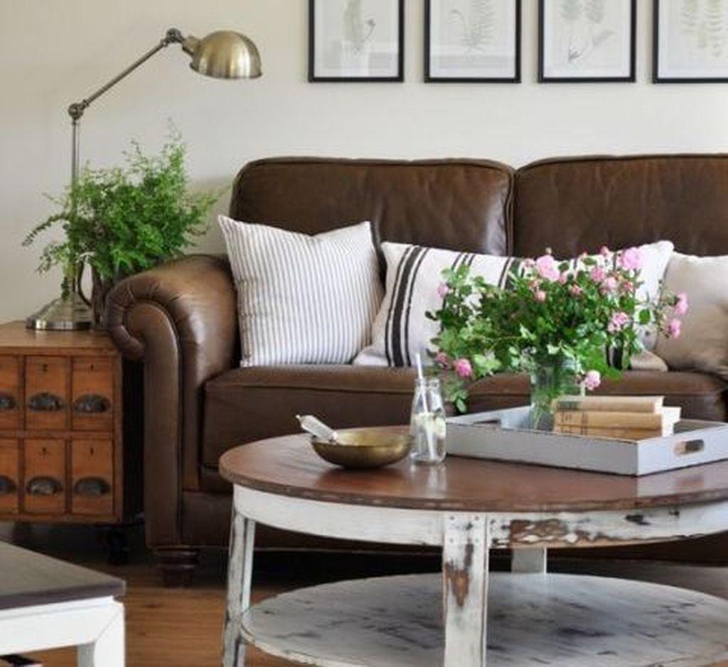 Farmhouse Living Room With Leather Sofa, Cottage Style Living Room With Leather Couch