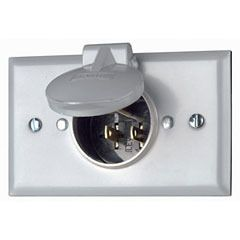 Leviton 4937 Weatherproof Inlet On Flush Mount Wallplate With Aluminum Cover Straight Blade Receptacle Gray Price 9 9 Leviton Receptacles Weatherproofing
