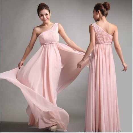 Bridesmaids | Light Pink Chiffon One Shoulder Empire Prom Evening ...