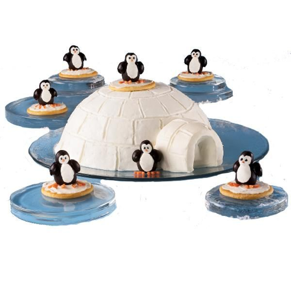 Great Icescape Cute party penguins are chillin on an igloo