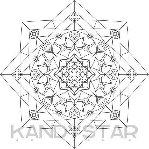 Mandala Coloring Page Jeweled Printable Instant Download
