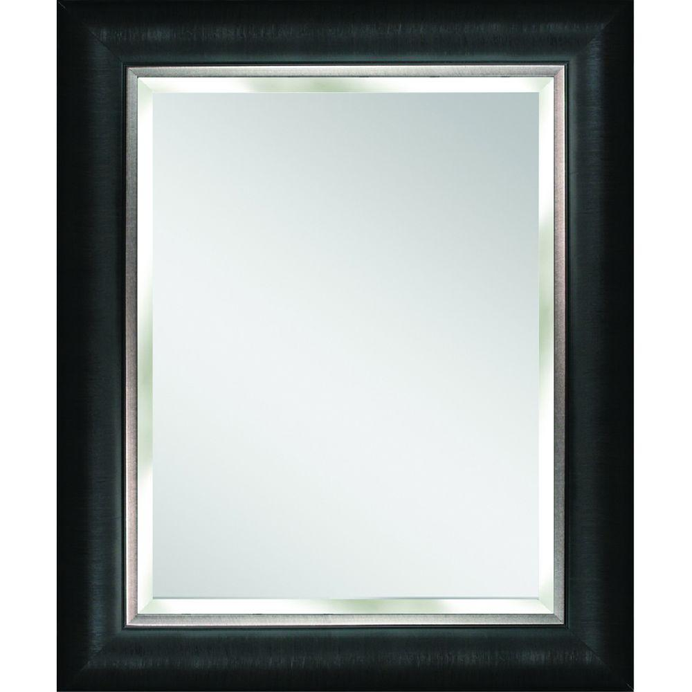 Deco Mirror Alderton 29 In W X 35 In H Framed Rectangular Beveled Edge Bathroom Vanity Mirror In Black Silver 8876 The Home Depot Silver Wall Mirror Mirror Wall Silver Walls Black and silver mirror