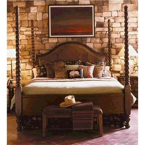 Lakeridge Queen Barley Twist Leather Poster Bed From Lane, Eddie Bauer  Collection 800 Popup