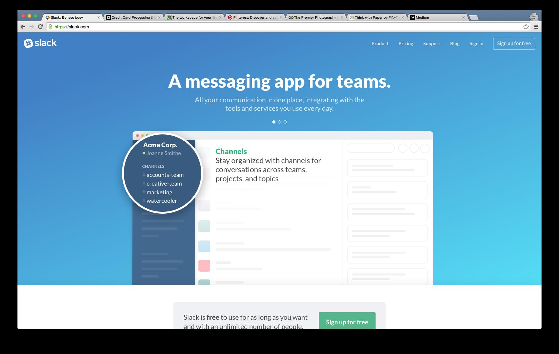 Slack landing page Landing page, Messaging app, Messages