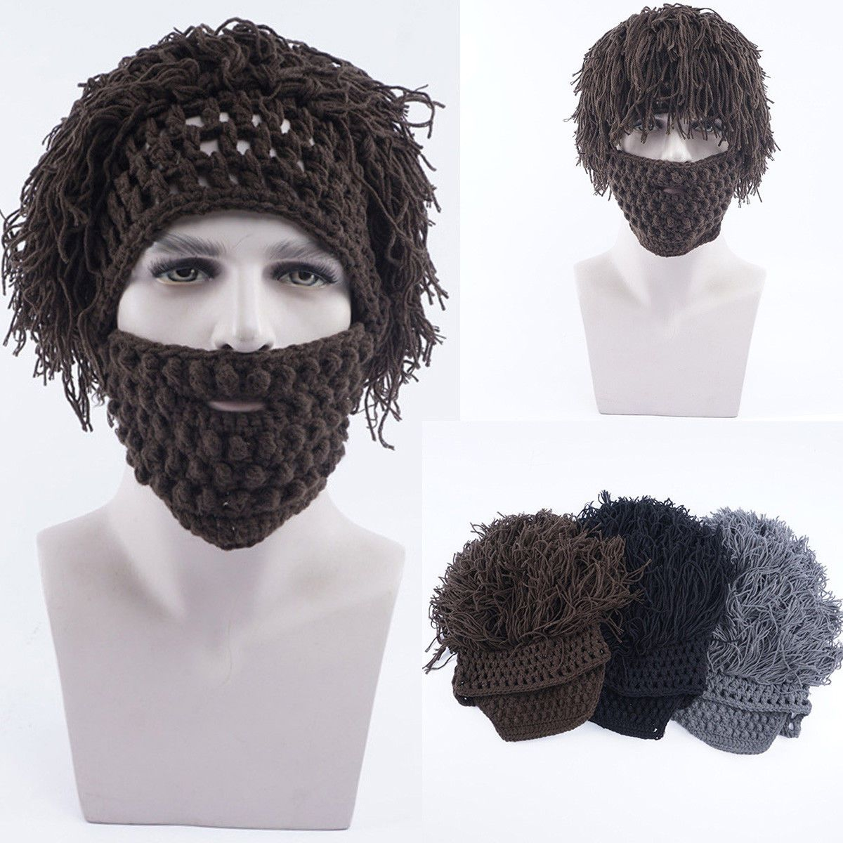 d56f554a16c Mens Boys Funny Wig Beard Hats Hobo Mad Caveman Winter Knit Warm Hat  Beanies Cap