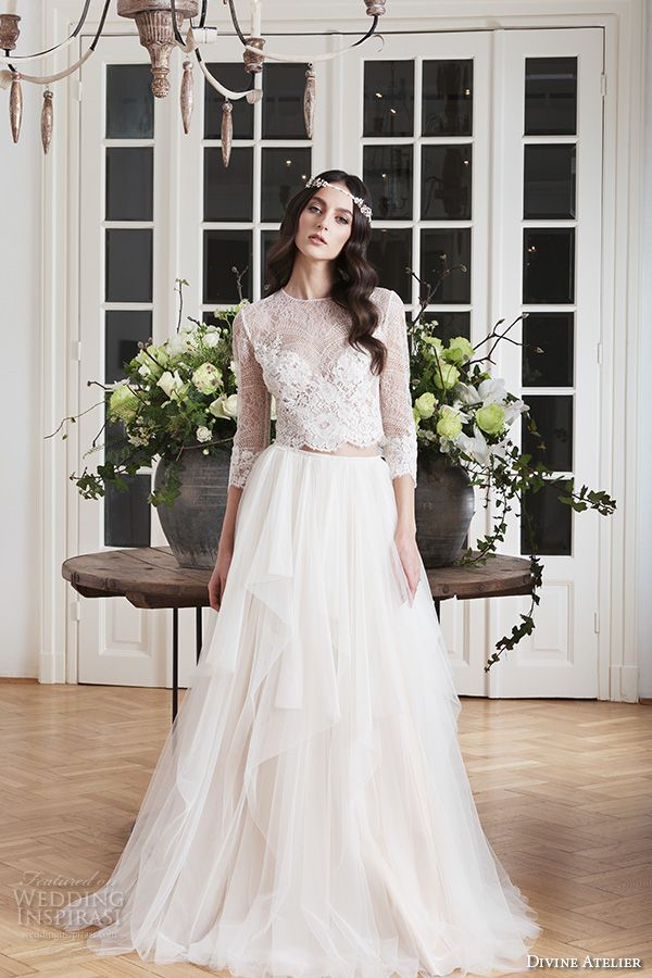 Divine Atelier 2016 Wedding Dresses | Lace crop tops, Bridal gowns ...