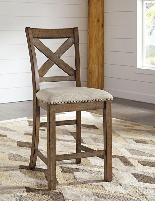 Awe Inspiring Ashley Moriville Beige Upholstered Barstool Set Of 2 Bars Bralicious Painted Fabric Chair Ideas Braliciousco