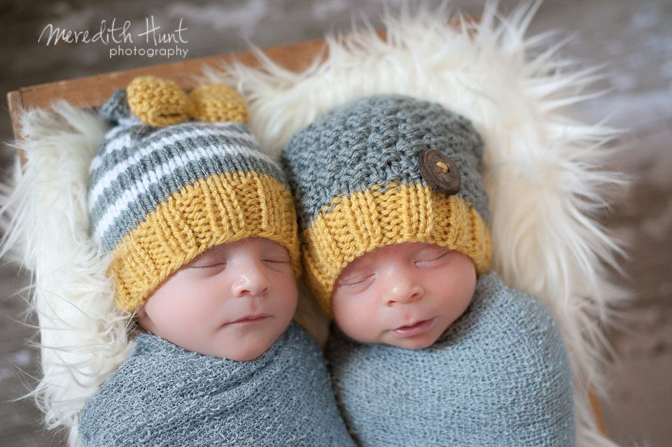 Twin Baby Beanies in Grey and Yellow with Bow and Handmade Wood Button  Shabby Chic Hippie Style Baby Photo Prop.  34.00 a8e29dd522b