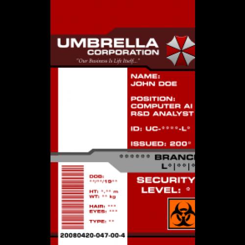 Umbrella Corporation Id Card Access Pass From The Identity Props Store Umbrella Corporation Id Card Template Umbrella