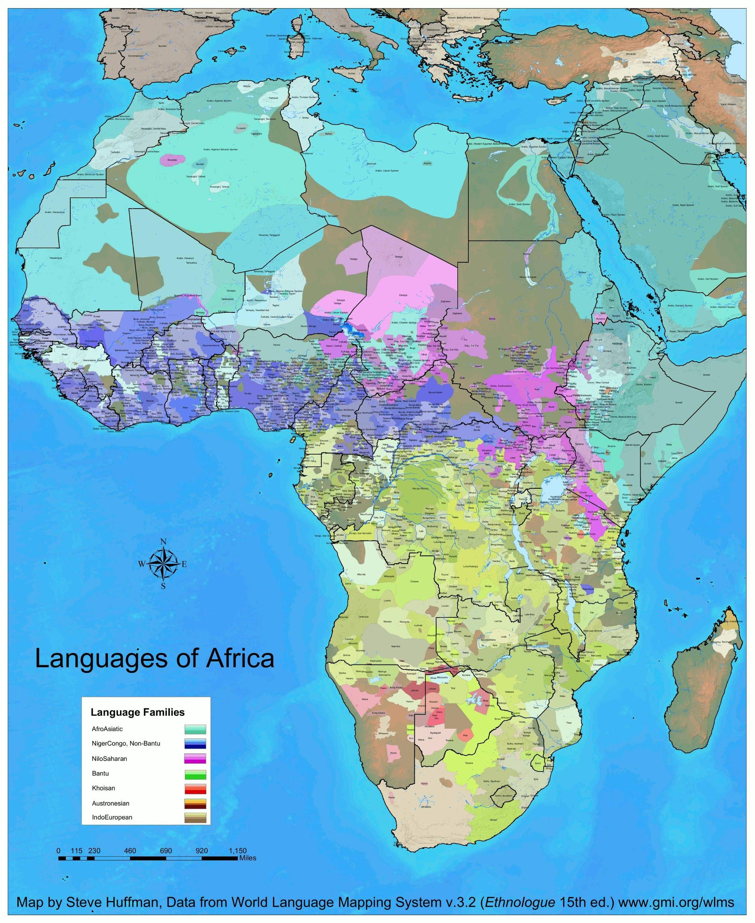 Detailed map of Africa's languages | Africa | Africa map