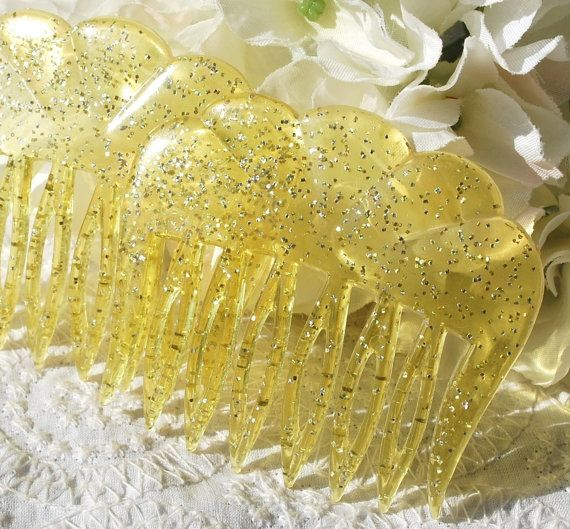 Vintage Hair Comb Set, Lemon Yellow, Glitter Confetti Lucite, Scalloped, 1950s 1960s Mid Century