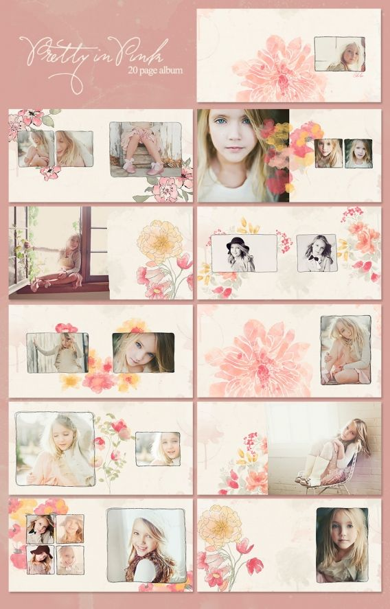 Pretty In Pink Watercolor Album On Sale 50 Photobook Design Photo Album Design Photo Album Layout