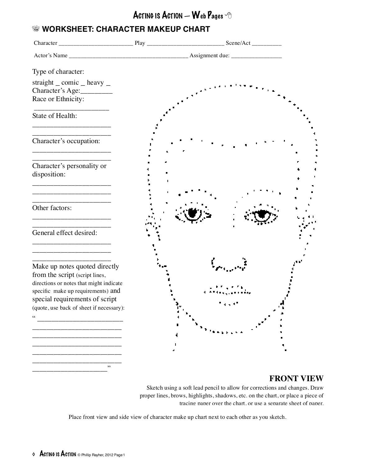 Worksheet Character Makeup Chart