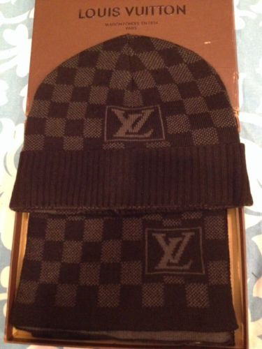Louis Vuitton Checkered Petit Damier Scarf and Hat set  04df96f19dd9