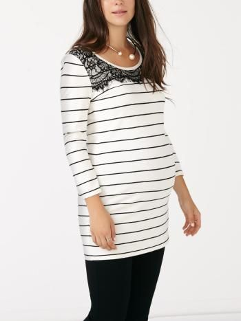 a7c2ad16f98 Stork   Babe - 3 4 Sleeve Striped Maternity Tunic with Lace ...