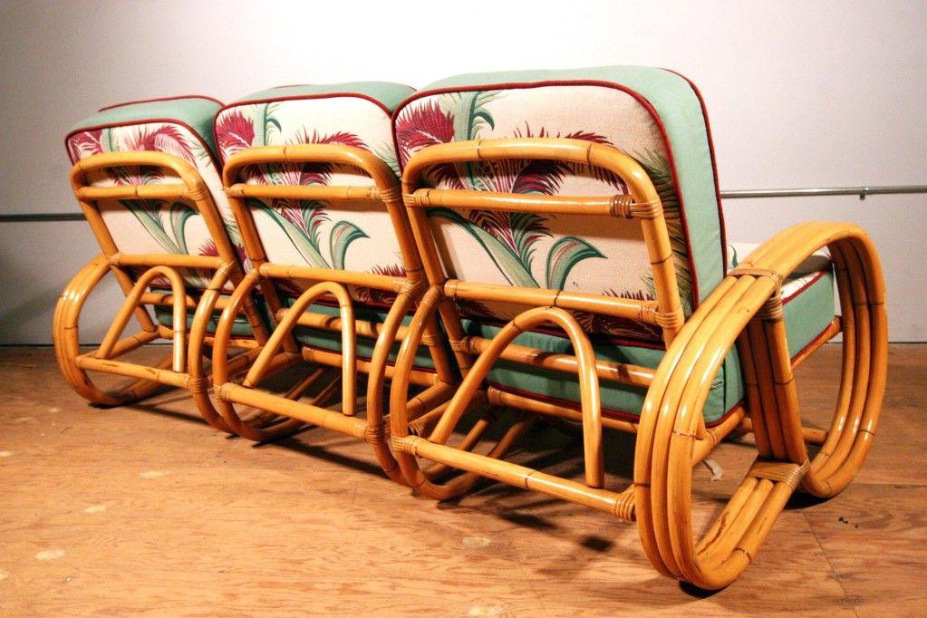 Paul Frankl Style Three-Strand Reverse Pretzel Rattan Sofa ...