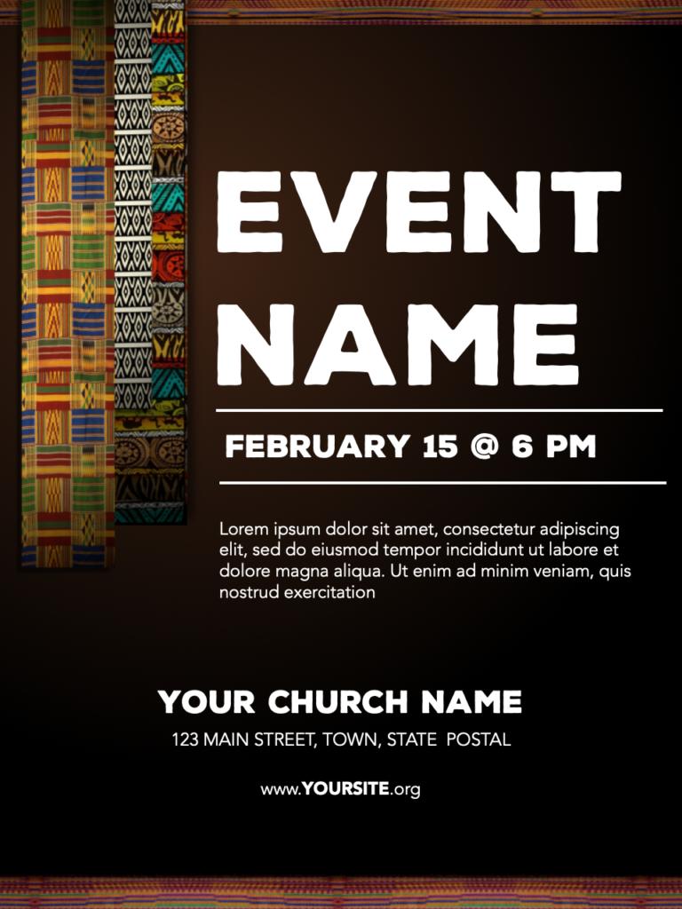 African Fabric Flyer Progressive Church Media African Fabric African American History Month Flyer
