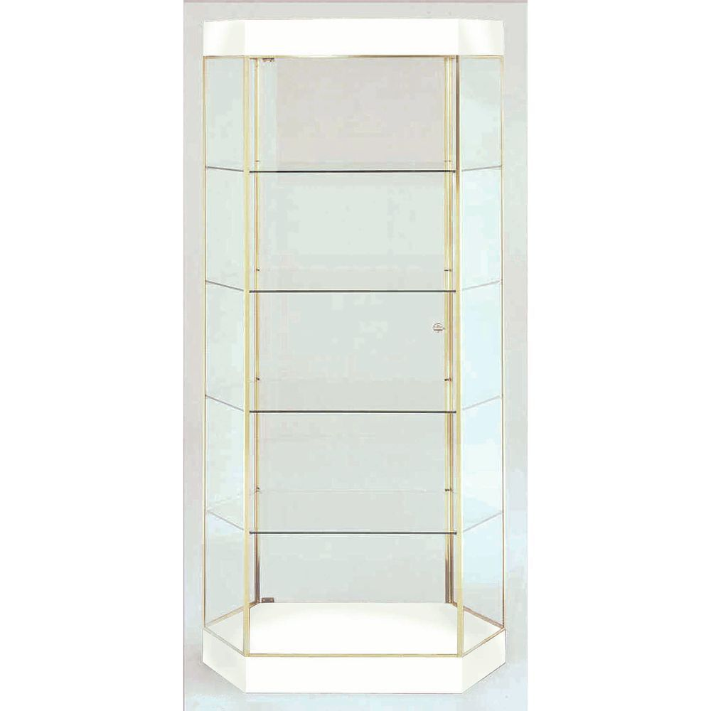 White-Finish Retail Glass Display Cabinets