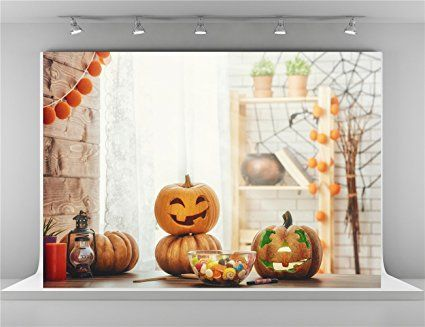 7x5ft-22x15m Cute Pumpkin Photo Background With Wooden Floor White - halloween backdrop