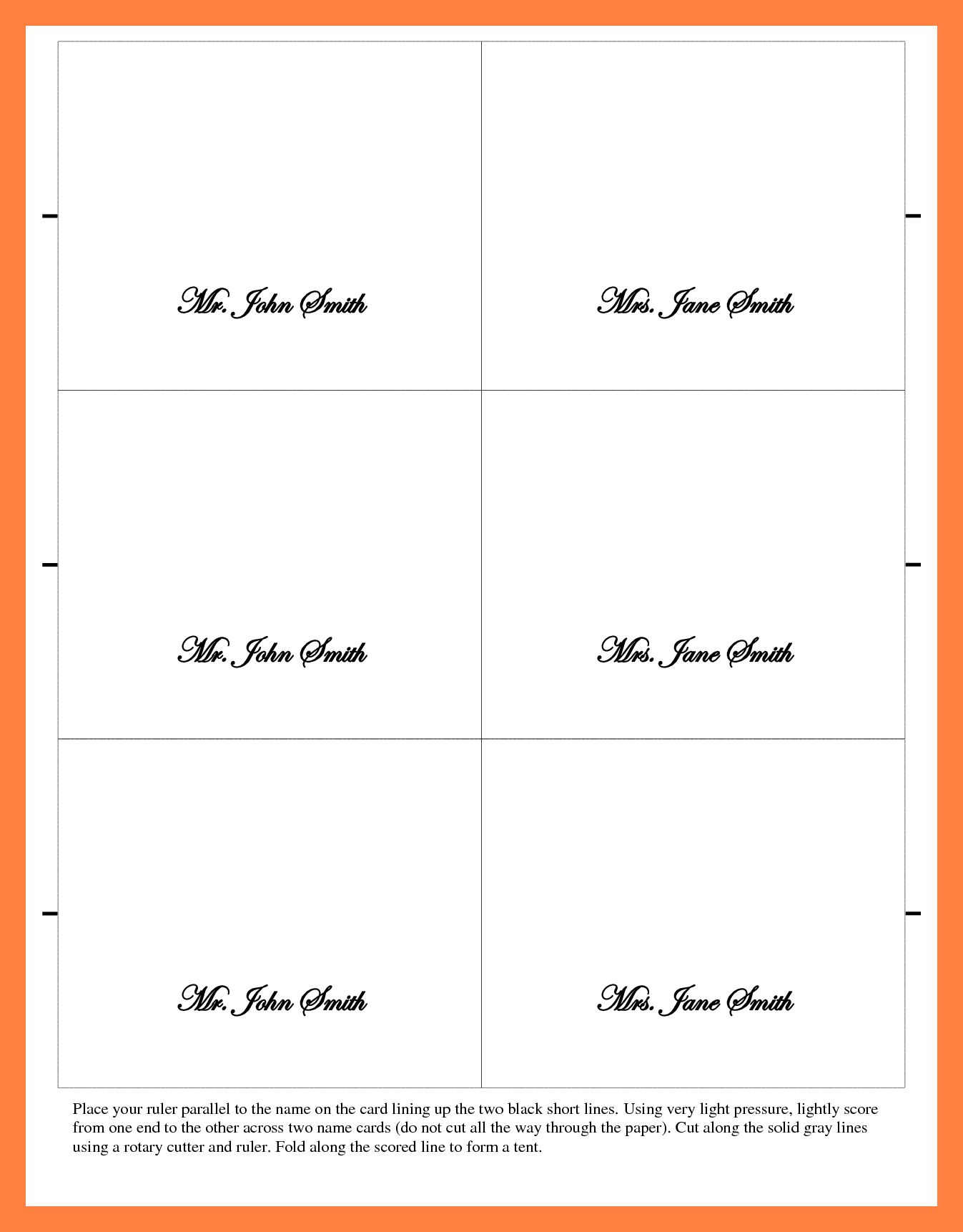 Microsoft Word Place Card Template 6 Per Sheet Cards Throughout Microsoft Word Place Card Template Best Te Place Card Template Best Templates Card Template
