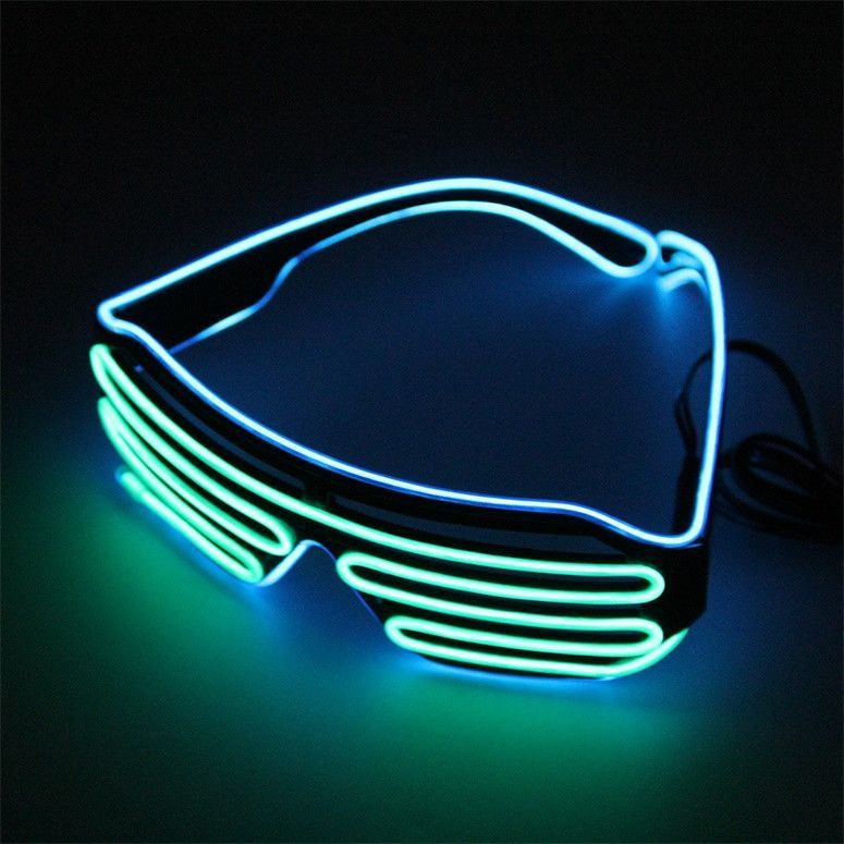 Double Color Glow LED EL Glasses Wire sunglasses Light Up Shades ...