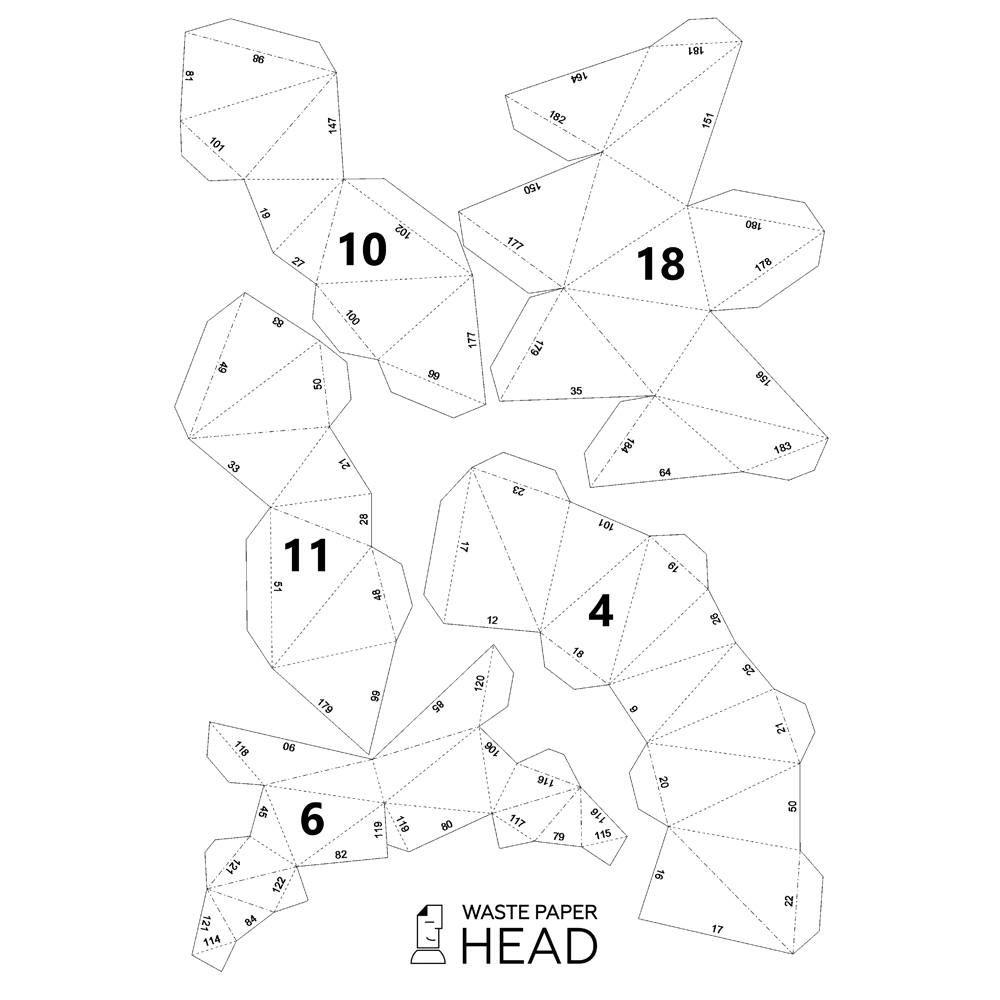 papercraft rhino head digital template cabezas de animales plegables papiroflexia mascaras  [ 1000 x 1000 Pixel ]