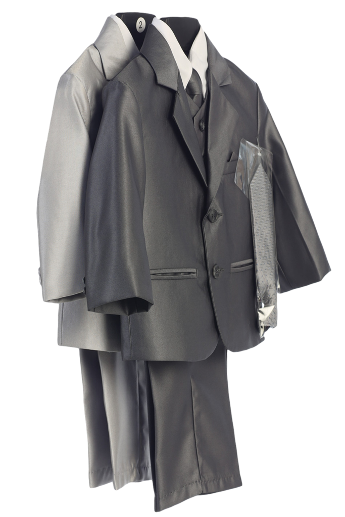 721f213ed Boys Dark Grey Metallic 7pc Suit w. 2-Button Jacket 6m-14 | Boy's ...