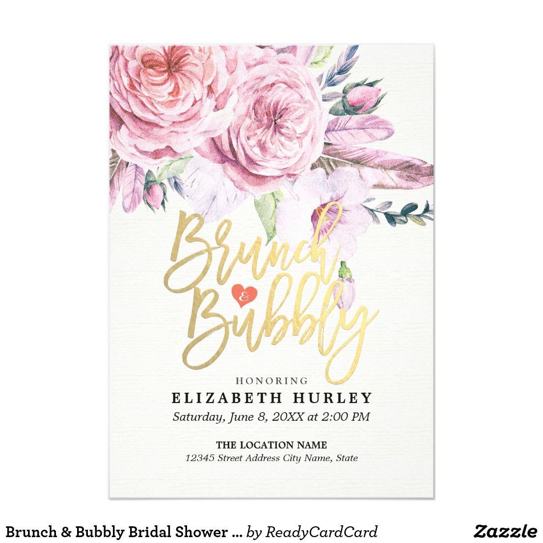 Brunch & Bubbly Bridal Shower Boho Floral Feather