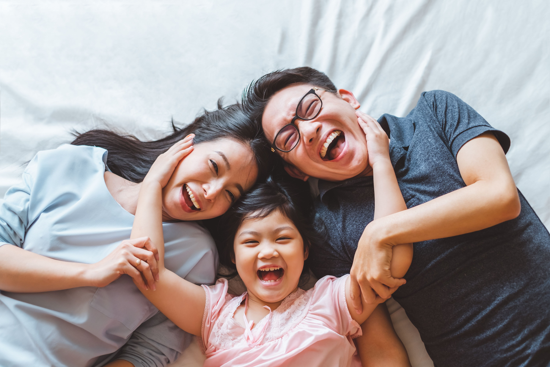 Asian adult beautiful bed bedroom child children