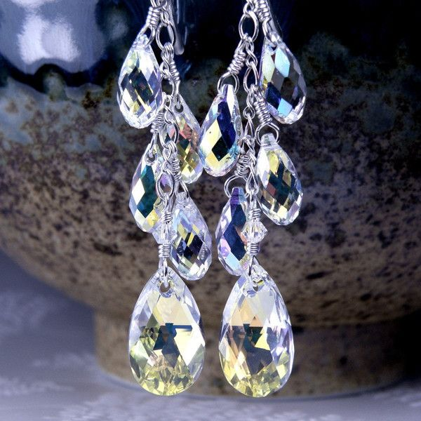Wedding Earrings Bridal Swarovski Crystal Teardrop Bride Chandelier 95 Liked