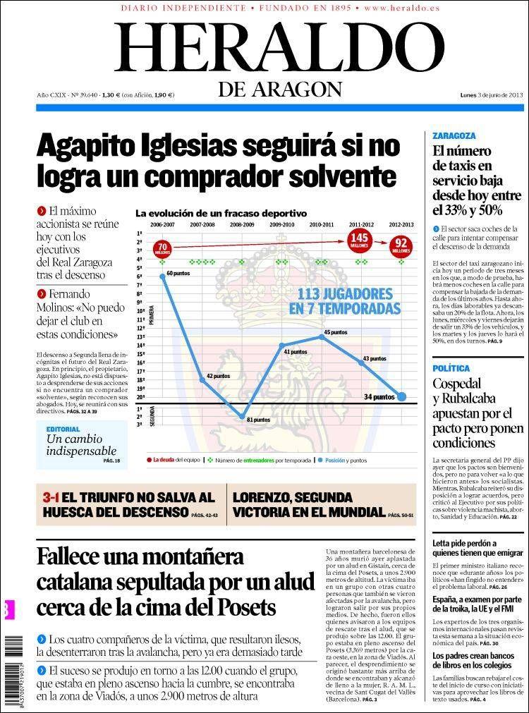 Los Titulares y Portadas de Noticias Destacadas Españolas del 3 de Junio de 2013 del Diario Heraldo de Aragón ¿Que le parecio esta Portada de este Diario Español?