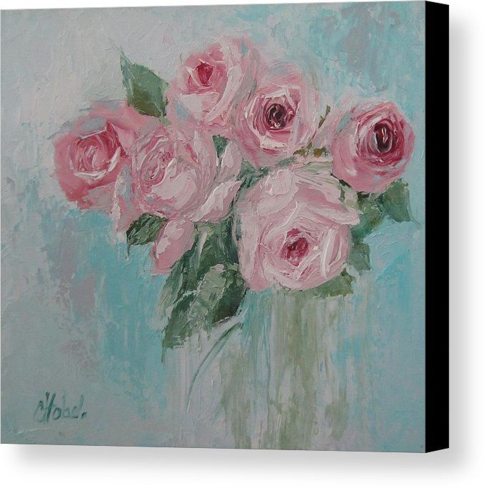 Pink Roses Canvas Print featuring the painting Shabby Chic Pink Roses Oil  Palette Knife Painting by