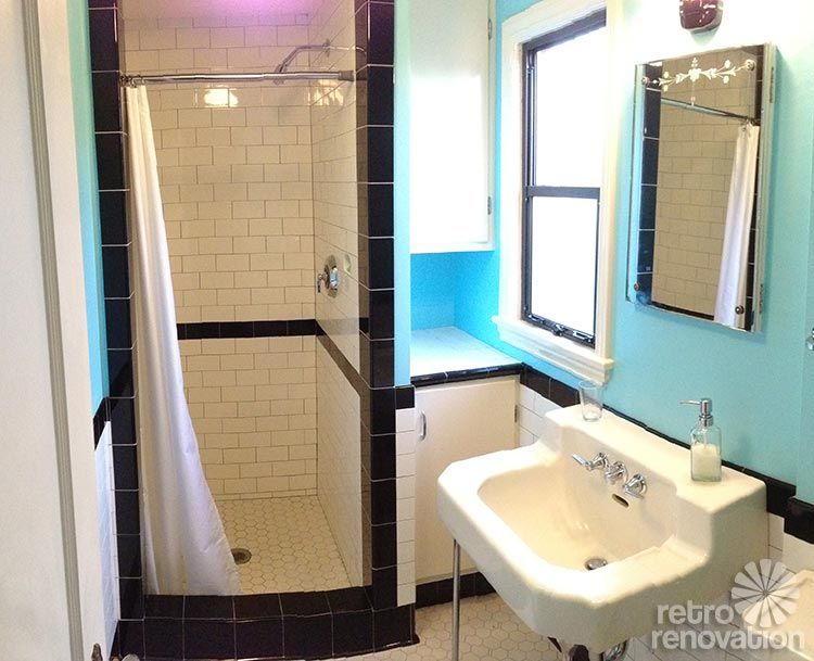 Black And White Retro Bathrooms dave and fran's beautiful, functional black and white tile