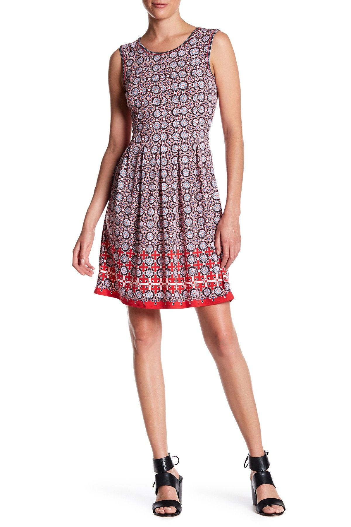 372a224fee Max Studio Patterned Sleeveless Fit   Flare Dress