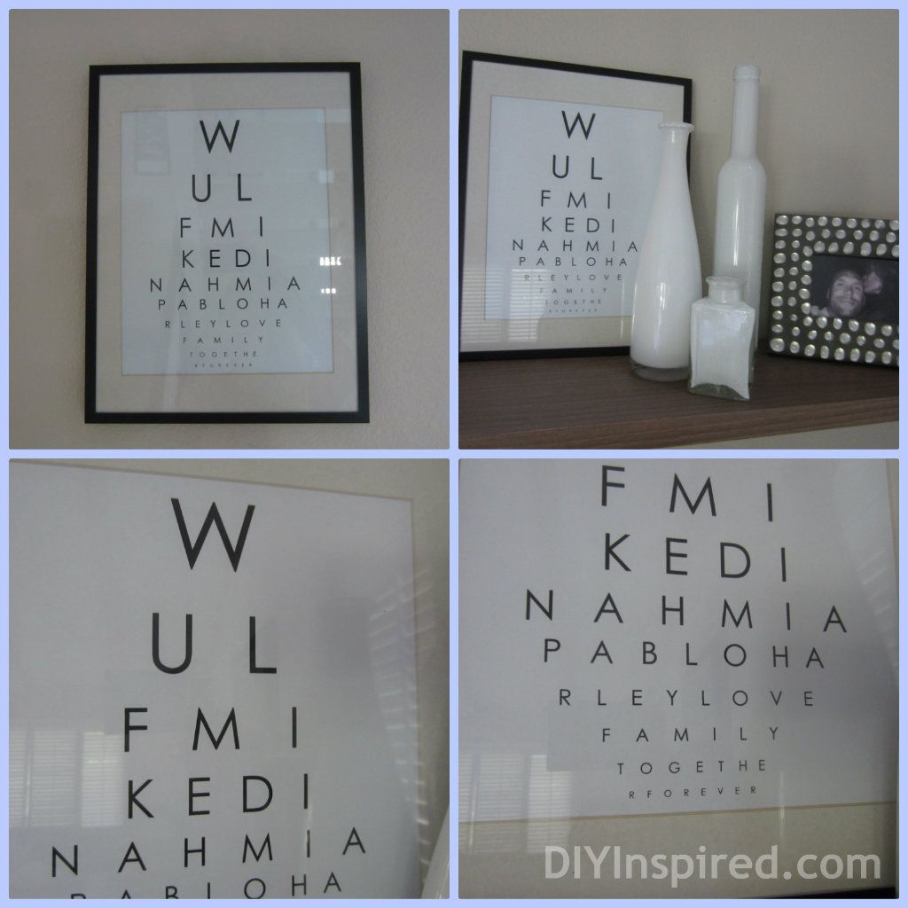 Eye chart wall art eye chart charts and eyes diy eye chart wall art use family names nvjuhfo Image collections