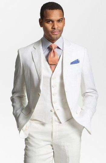23fc8f9d7e2 Casual White Linen Suits Summer Notched Lapel men wedding suits grooms  tuxedos Three piece mens suits slim fit Beach groomsmen suit