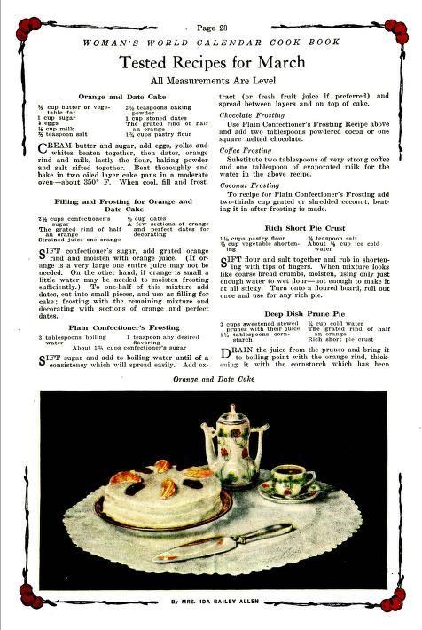 Woman's World calendar cook book