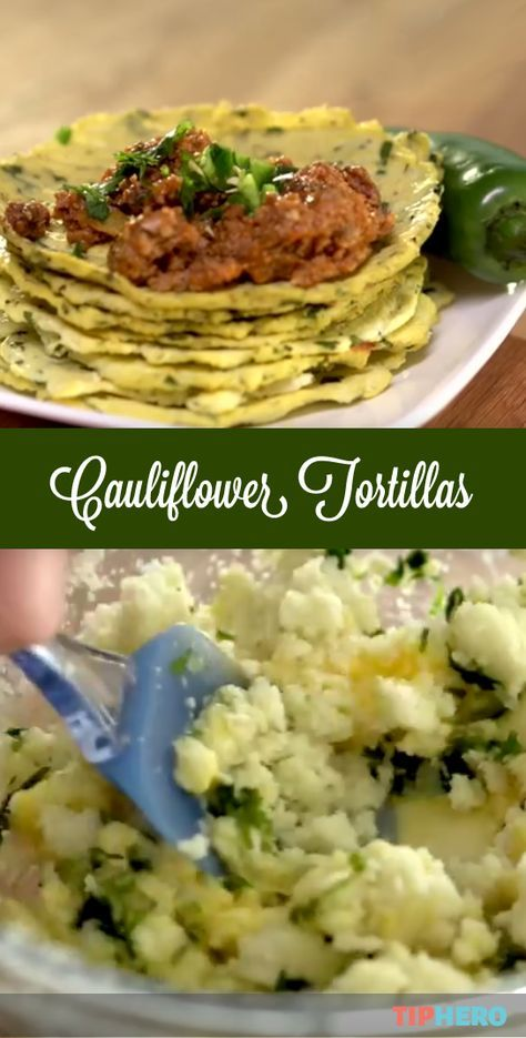Cauliflower Tortilla Recipe   Here's a healthier alternative to tortillas that tastes great! The secret ingredients? Cilantro and lime.  And your favorite taco fillings, of course! #familydinner #healthymeals